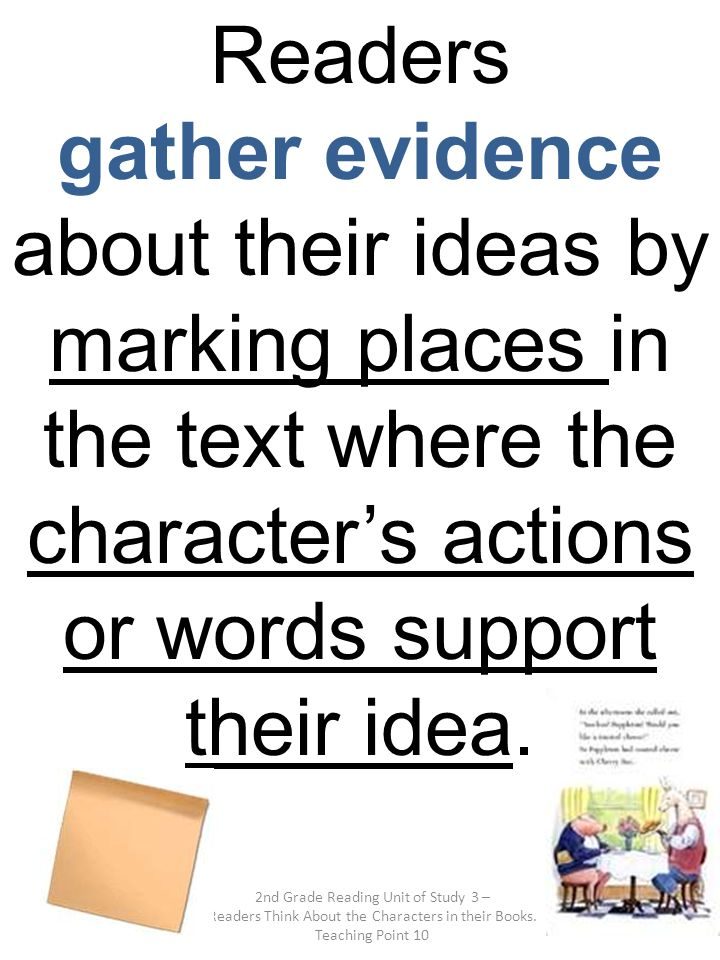 Readers gather evidence about their ideas by marking places in the text where the character's actions or words support their idea.