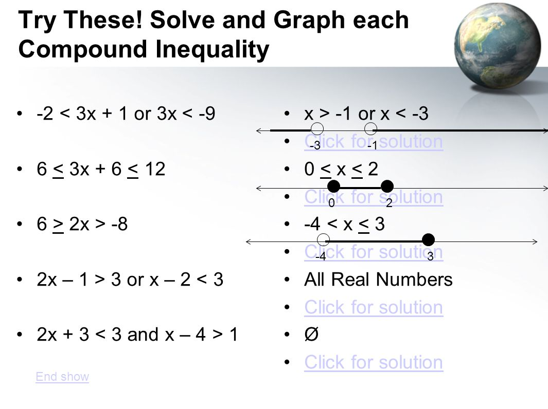 Try These! Solve and Graph each Compound Inequality