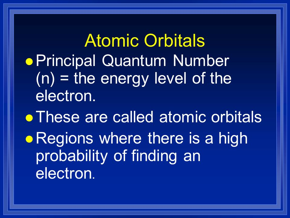Atomic Orbitals Principal Quantum Number (n) = the energy level of the electron. These are called atomic orbitals.