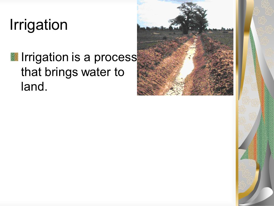 Irrigation Irrigation is a process that brings water to dry land.