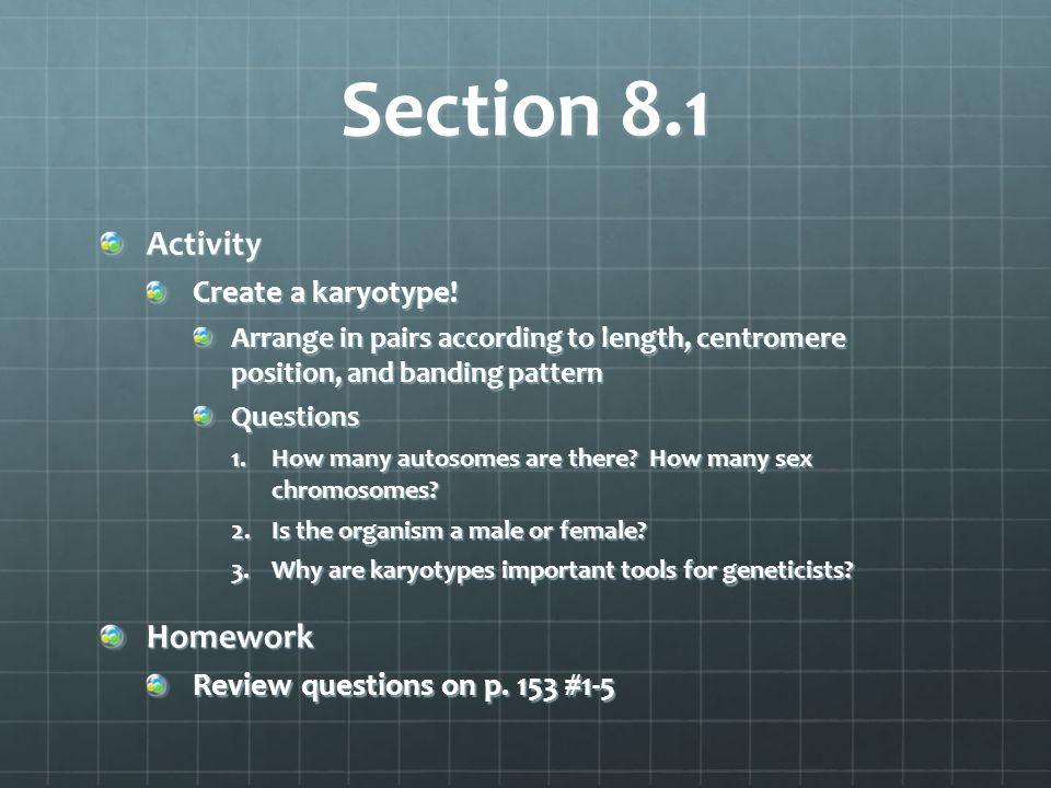 Section 8.1 Activity Homework Create a karyotype!