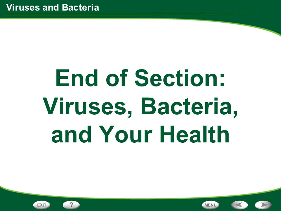 End of Section: Viruses, Bacteria, and Your Health