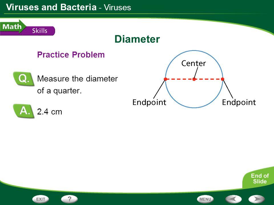 Diameter - Viruses Practice Problem Measure the diameter of a quarter.