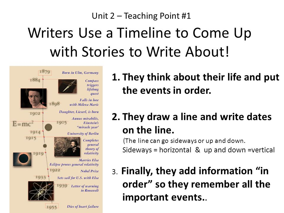 Unit 2 – Teaching Point #1 Writers Use a Timeline to Come Up with Stories to Write About!