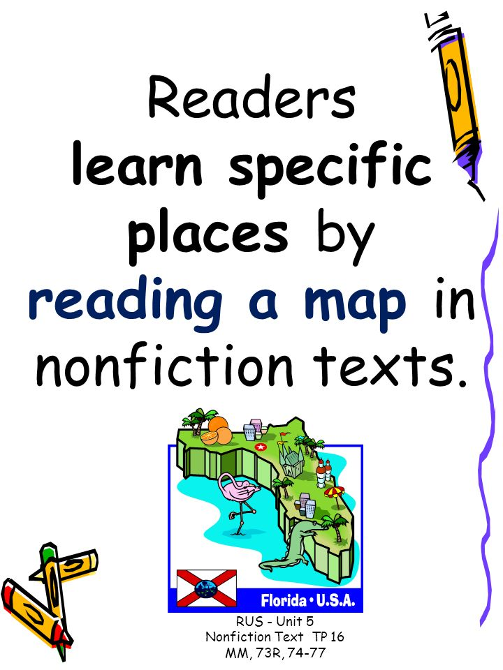Readers learn specific places by reading a map in nonfiction texts.