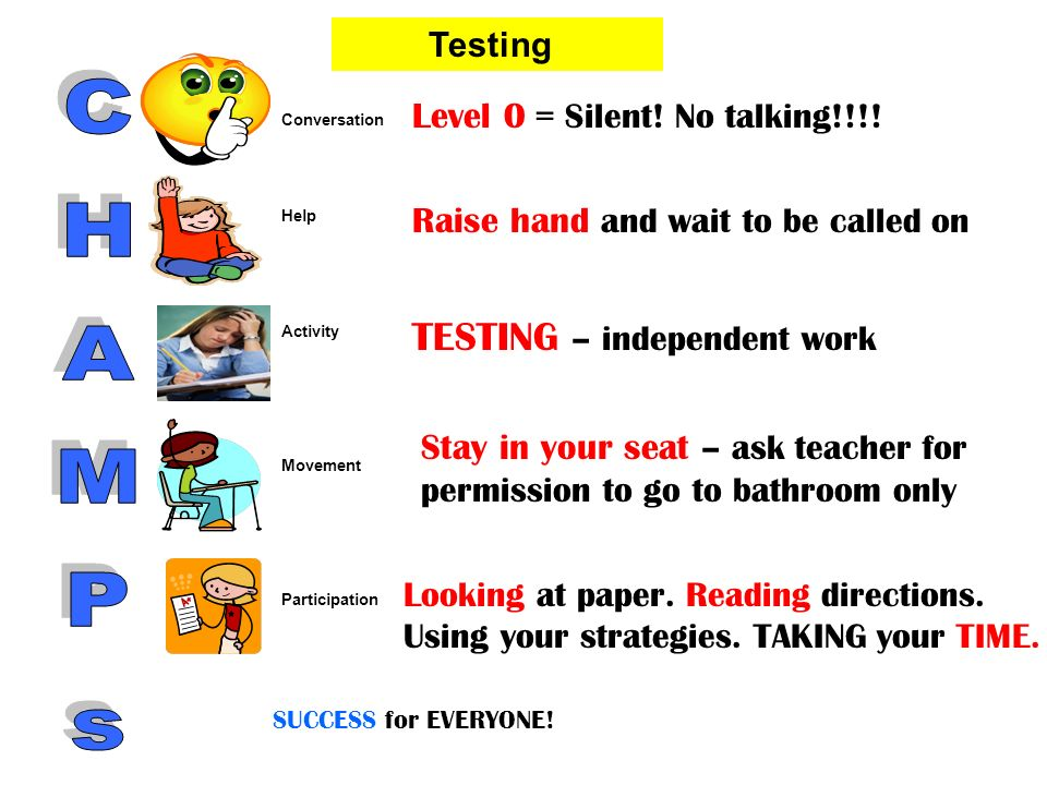CHAMPs TESTING – independent work Level 0 = Silent! No talking!!!!