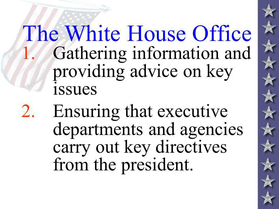 The White House Office Gathering information and providing advice on key issues.
