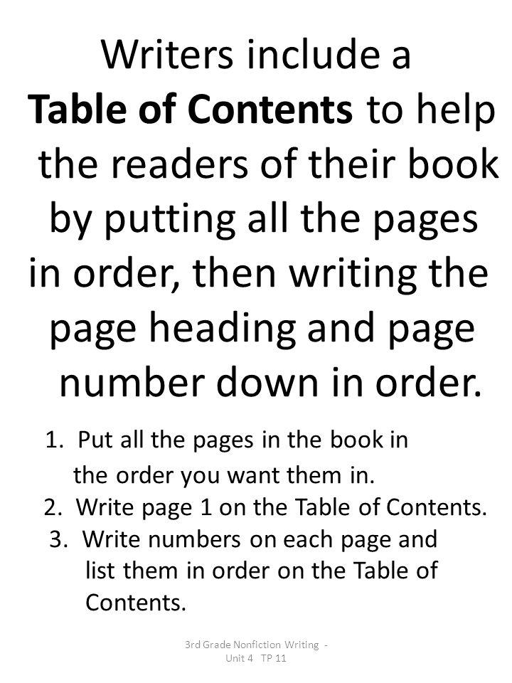 3rd Grade Nonfiction Writing - Unit 4 TP 11