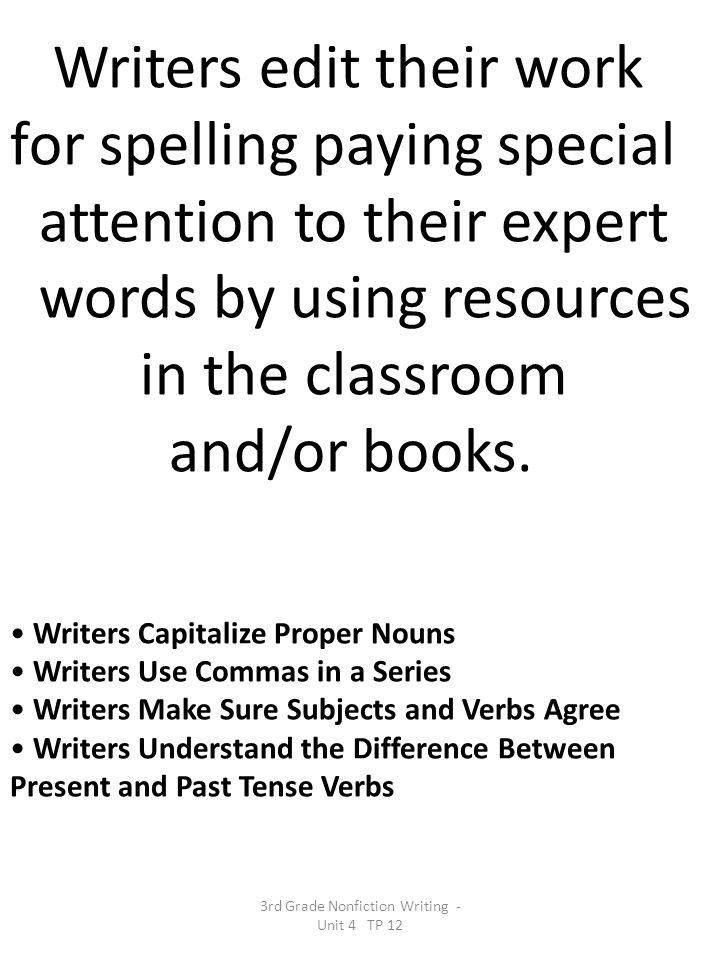 3rd Grade Nonfiction Writing - Unit 4 TP 12
