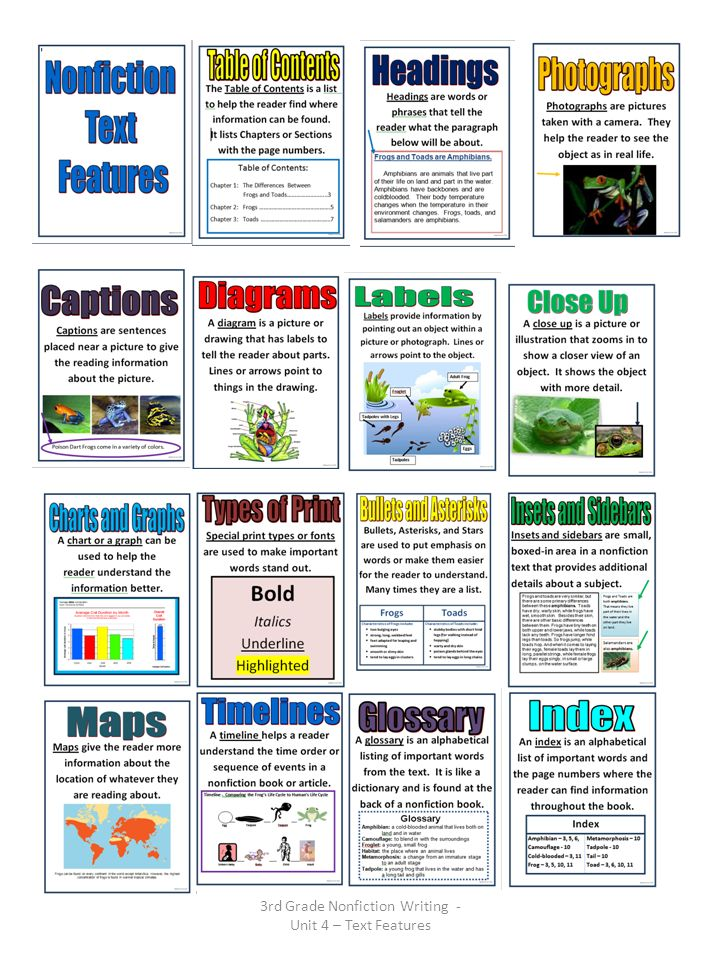 3rd Grade Nonfiction Writing - Unit 4 – Text Features