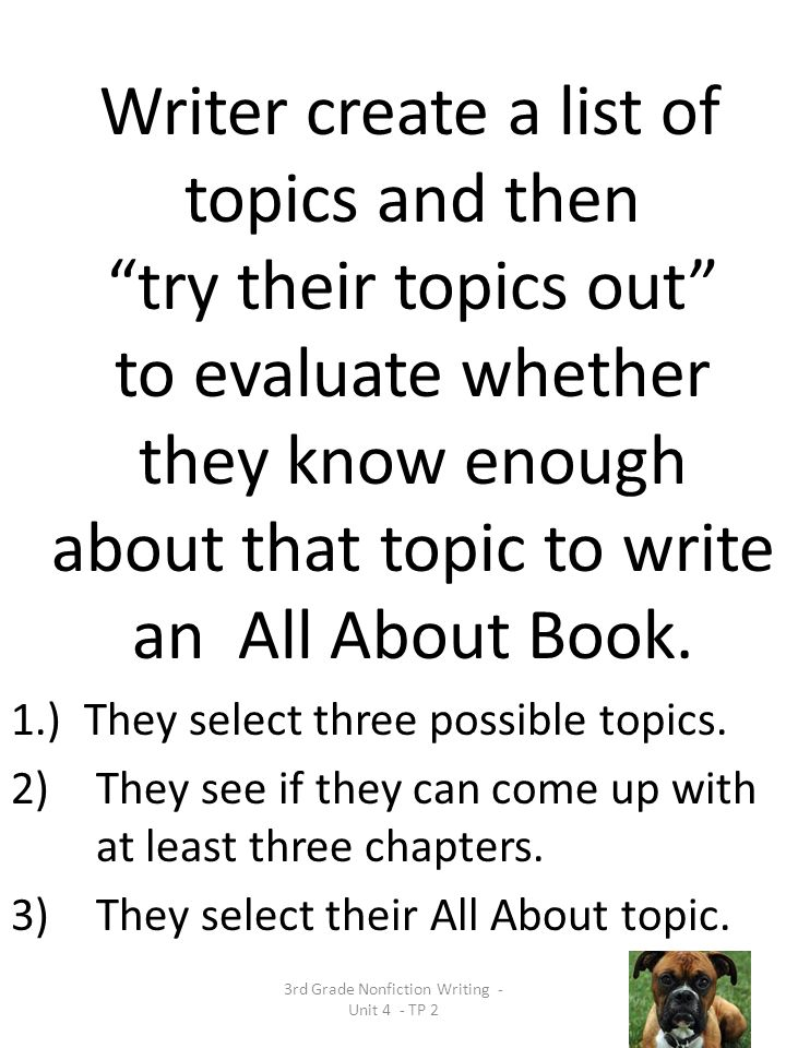 3rd Grade Nonfiction Writing - Unit 4 - TP 2