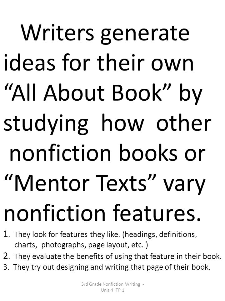 3rd Grade Nonfiction Writing - Unit 4 TP 1