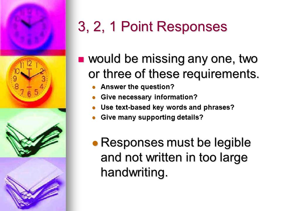 3, 2, 1 Point Responses would be missing any one, two or three of these requirements. Answer the question