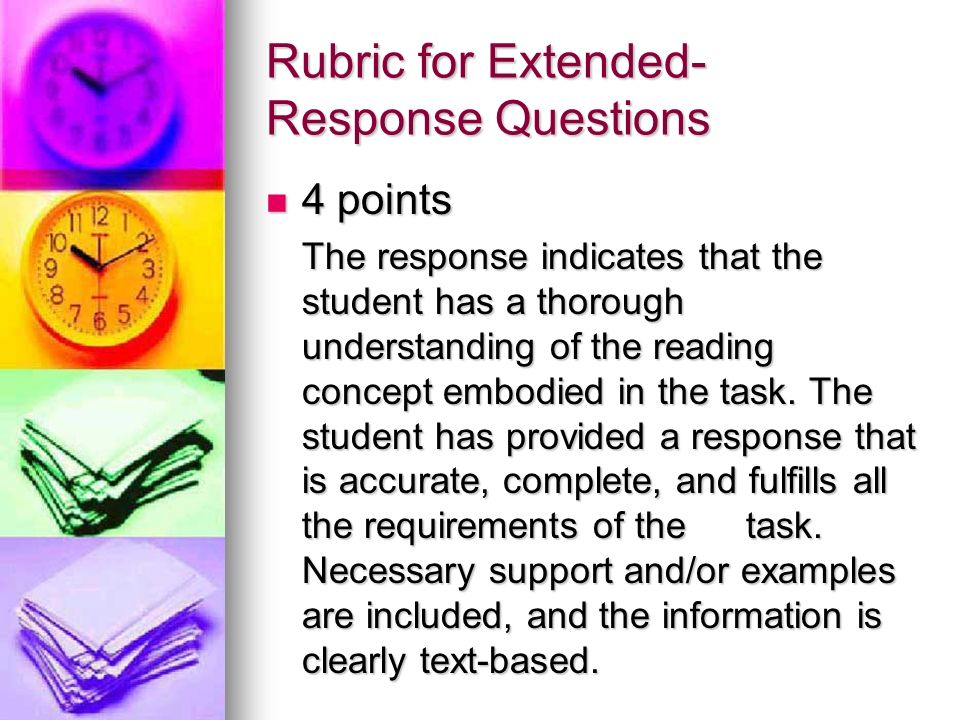 Rubric for Extended-Response Questions
