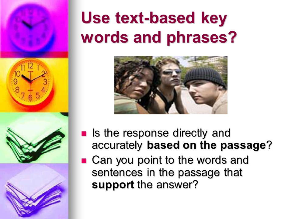 Use text-based key words and phrases