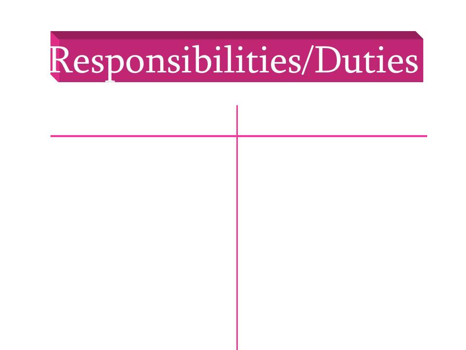 Responsibilities/Duties