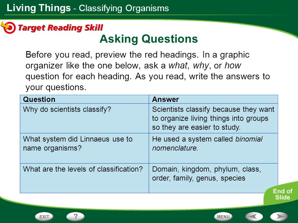 Asking Questions - Classifying Organisms
