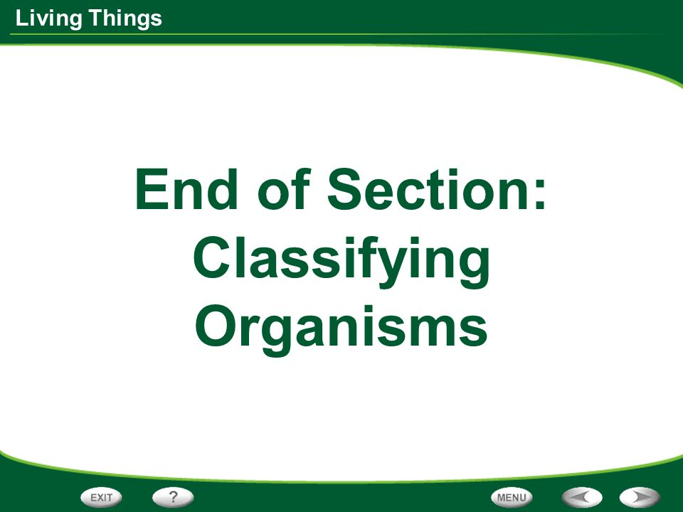 End of Section: Classifying Organisms