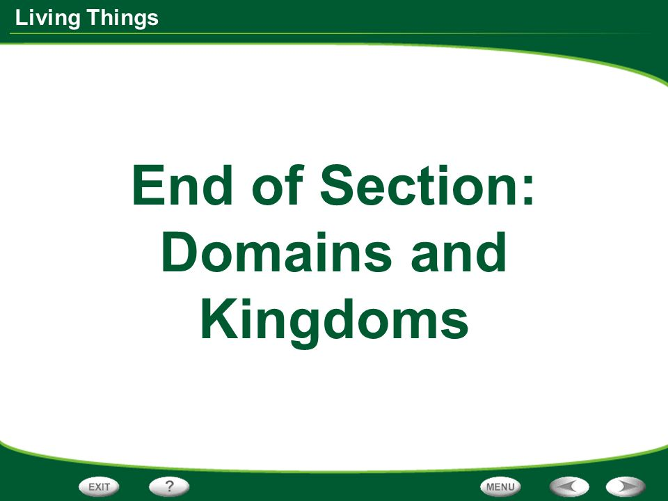 End of Section: Domains and Kingdoms