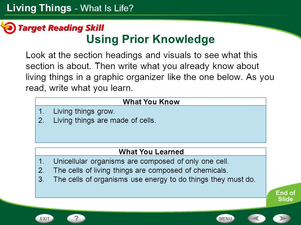 Using Prior Knowledge - What Is Life