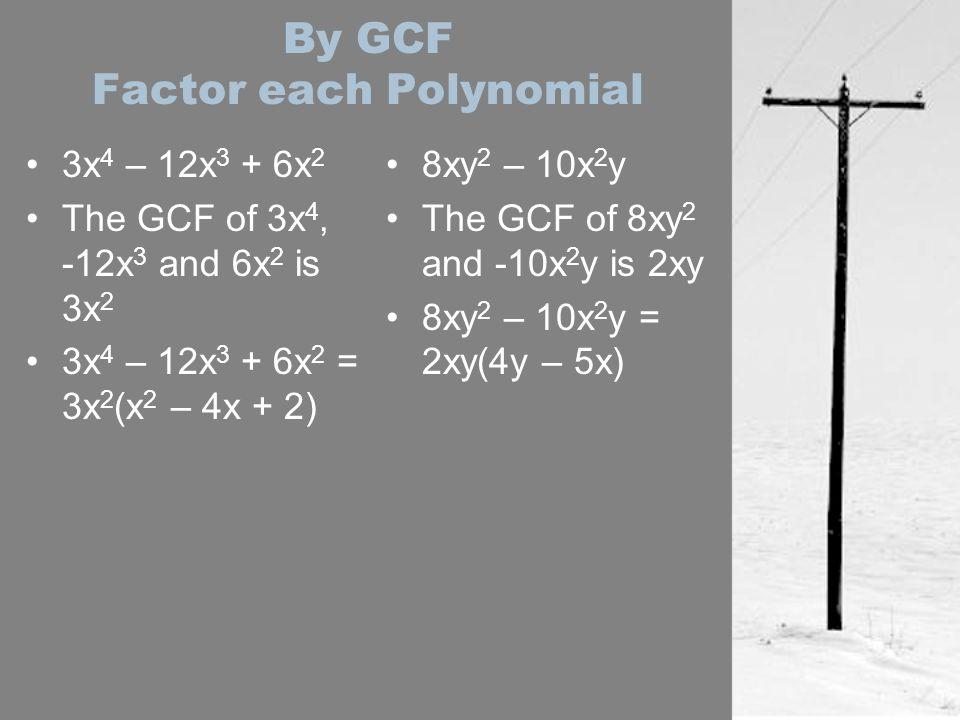 By GCF Factor each Polynomial