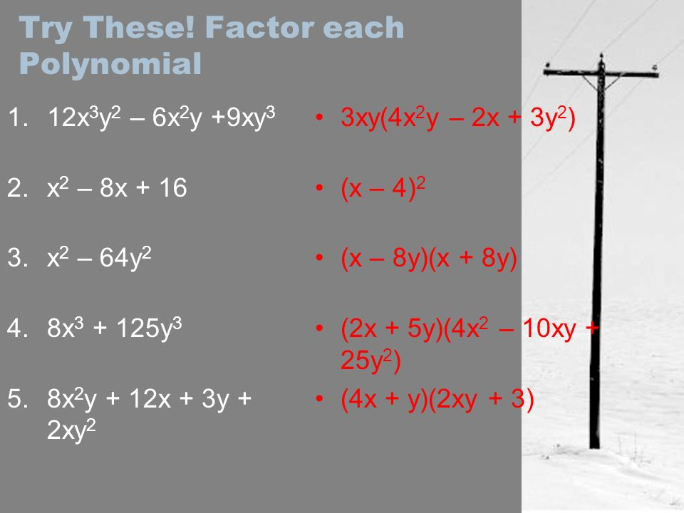 Try These! Factor each Polynomial