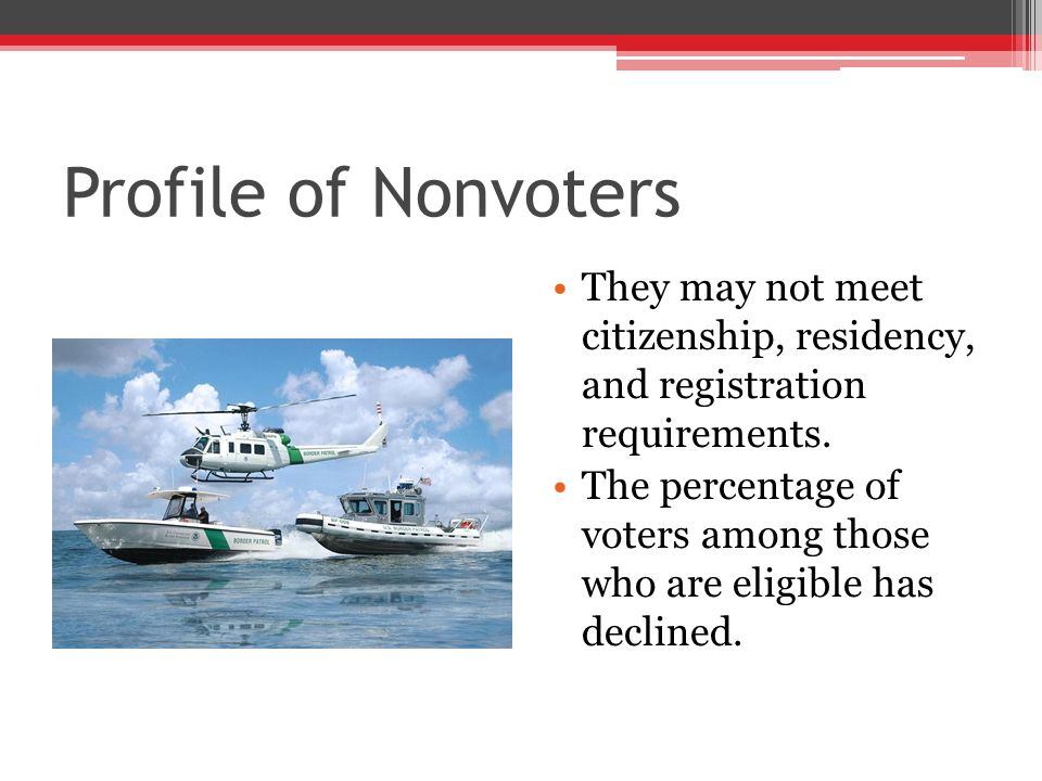 Profile of Nonvoters They may not meet citizenship, residency, and registration requirements.