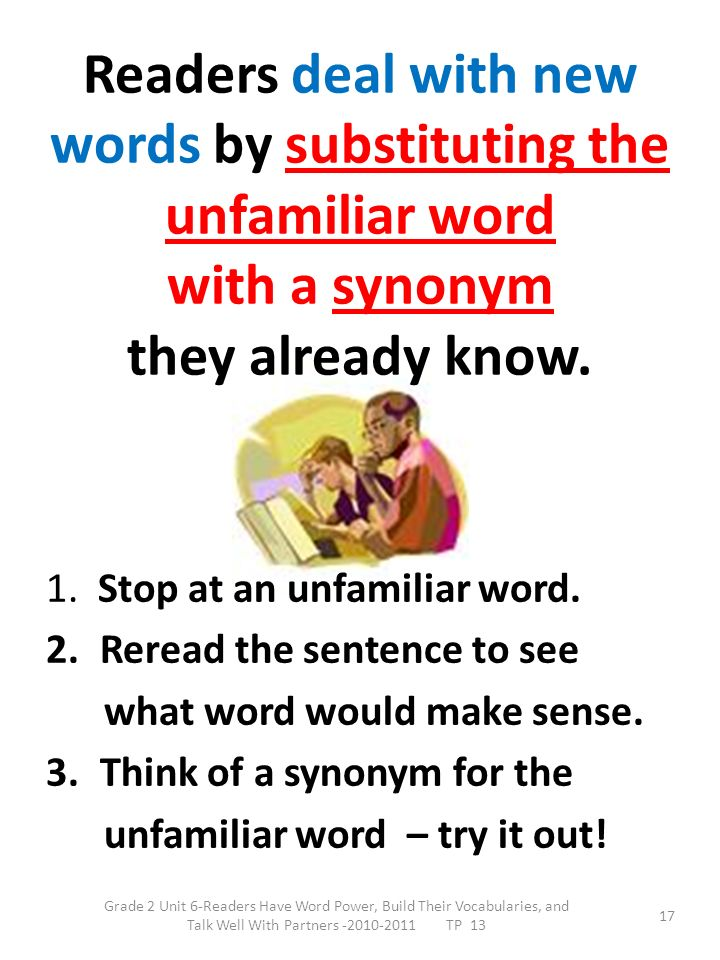 Readers deal with new words by substituting the unfamiliar word with a synonym they already know.
