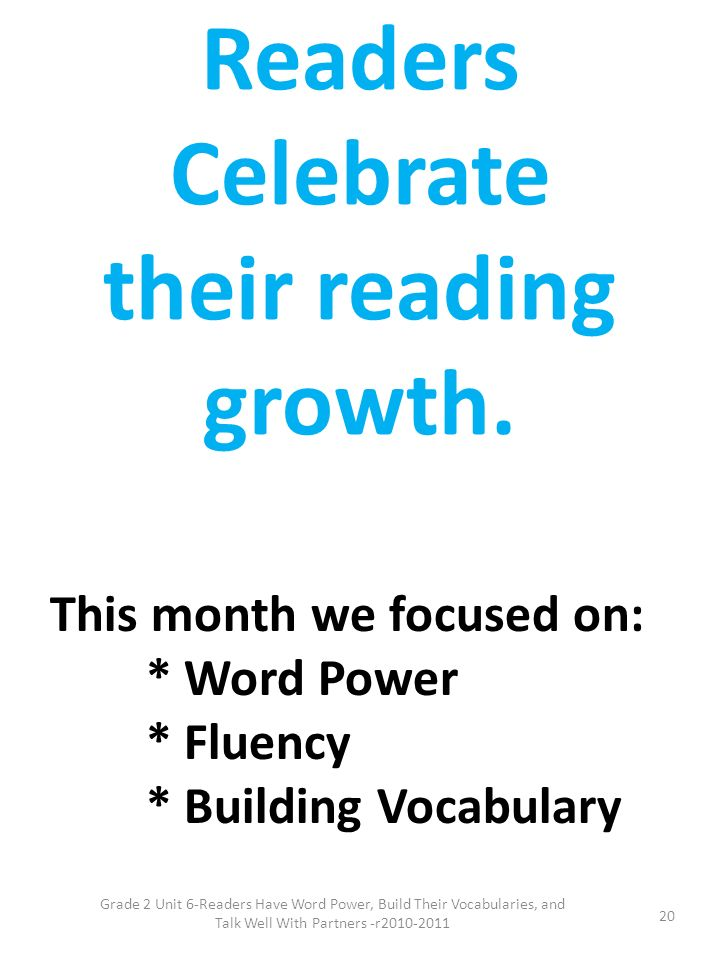 Readers Celebrate their reading growth.