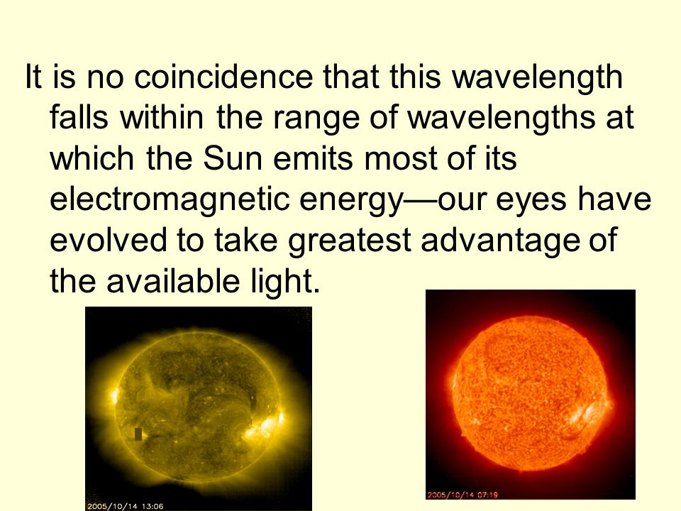 It is no coincidence that this wavelength falls within the range of wavelengths at which the Sun emits most of its electromagnetic energy—our eyes have evolved to take greatest advantage of the available light.