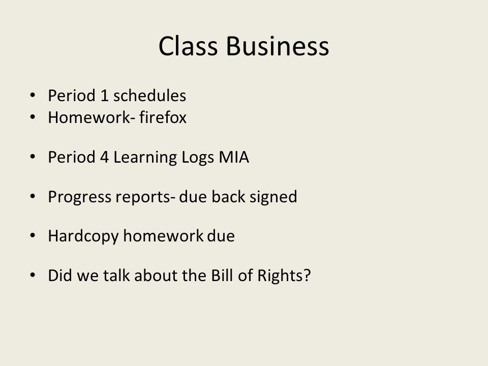 Class Business Period 1 schedules Homework- firefox