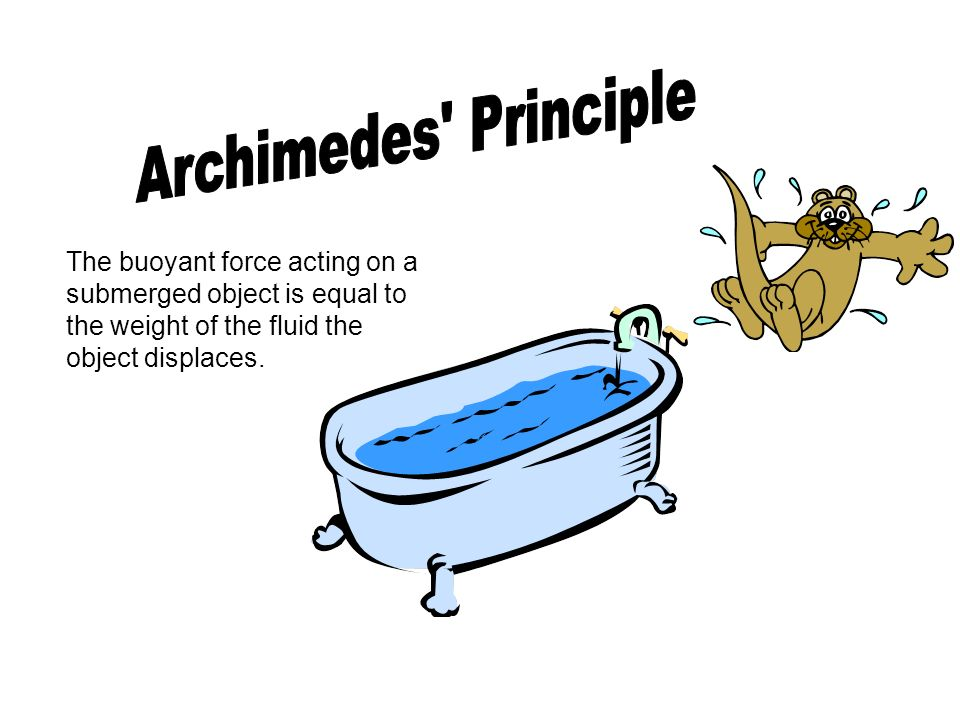 Archimedes Principle The buoyant force acting on a