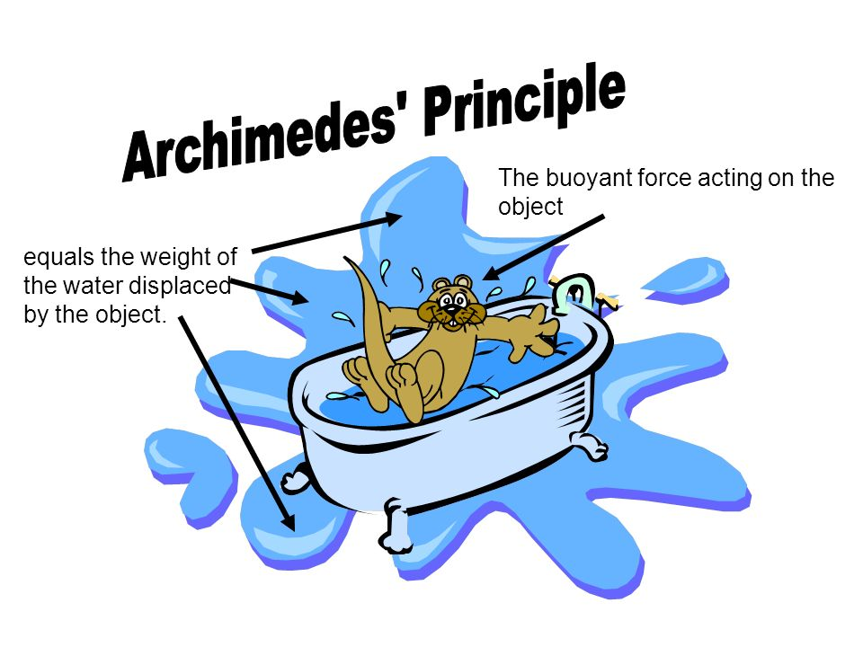 Archimedes Principle The buoyant force acting on the object