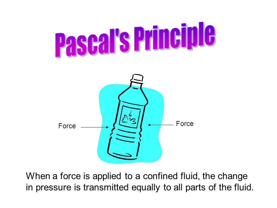 Pascal s Principle Force. Force. When a force is applied to a confined fluid, the change.