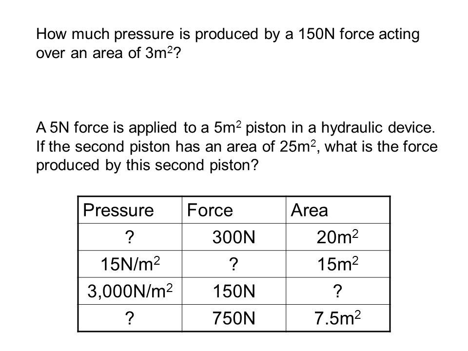 Pressure Force Area 300N 20m2 15N/m2 15m2 3,000N/m2 150N 750N 7.5m2