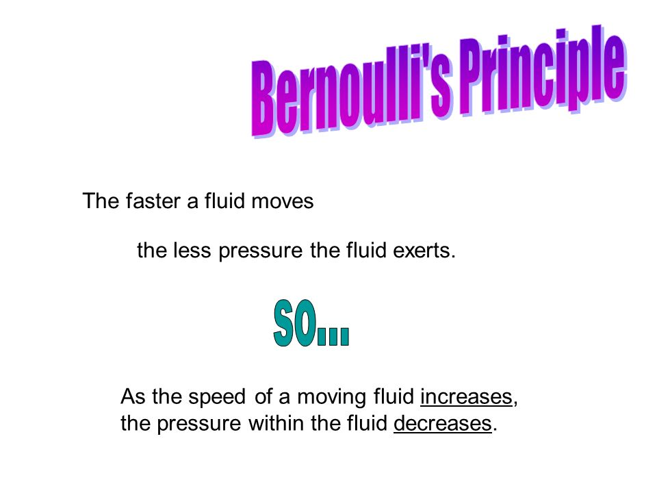 Bernoulli s Principle so... The faster a fluid moves
