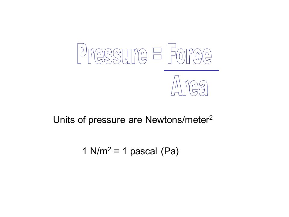 Pressure = Force Area Units of pressure are Newtons/meter2