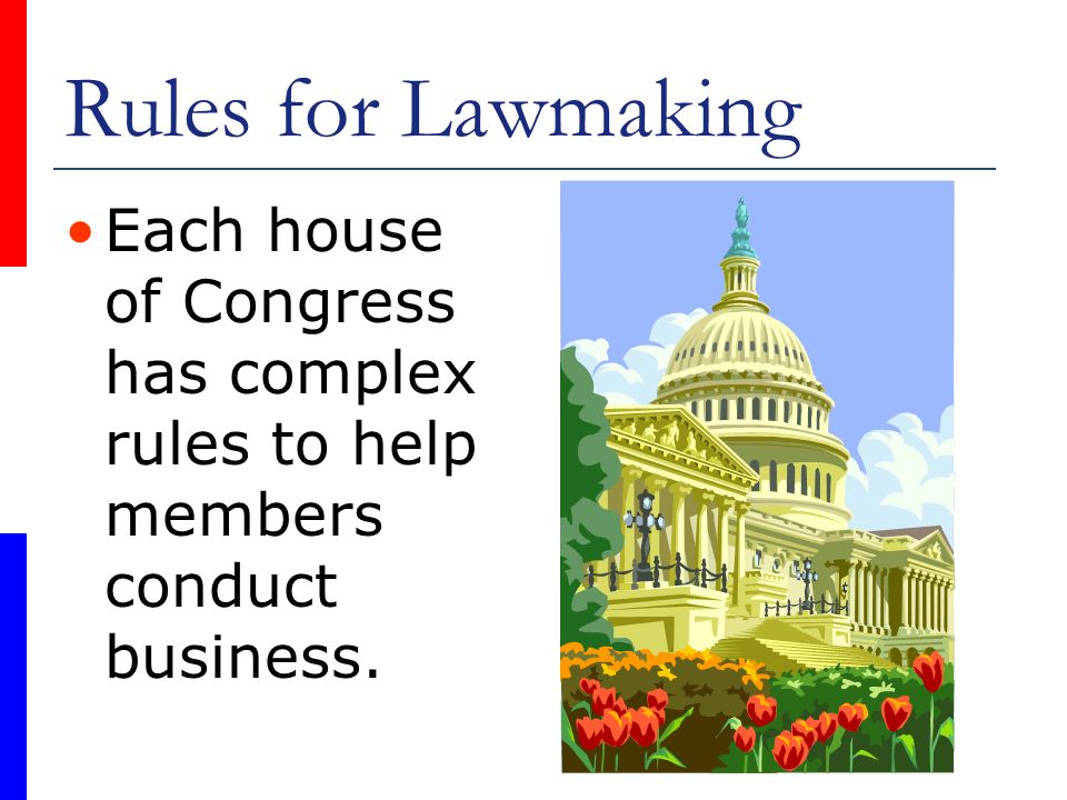 Rules for Lawmaking Each house of Congress has complex rules to help members conduct business.