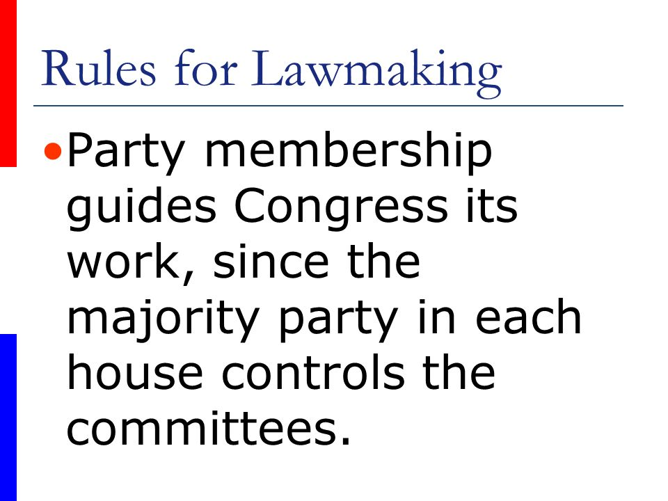 Rules for Lawmaking Party membership guides Congress its work, since the majority party in each house controls the committees.
