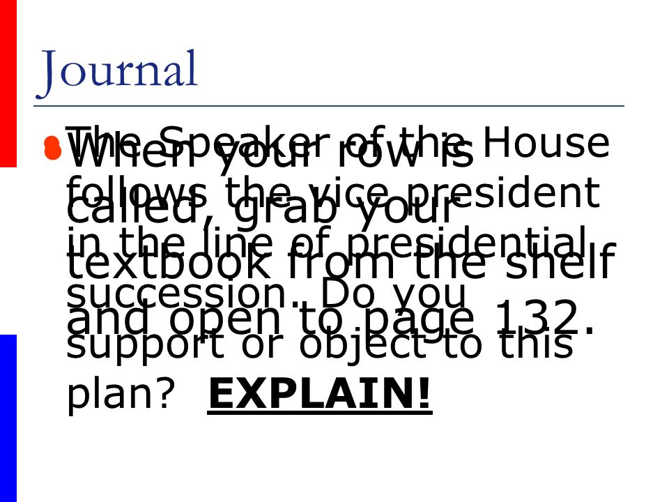 Journal The Speaker of the House follows the vice president in the line of presidential succession. Do you support or object to this plan EXPLAIN!