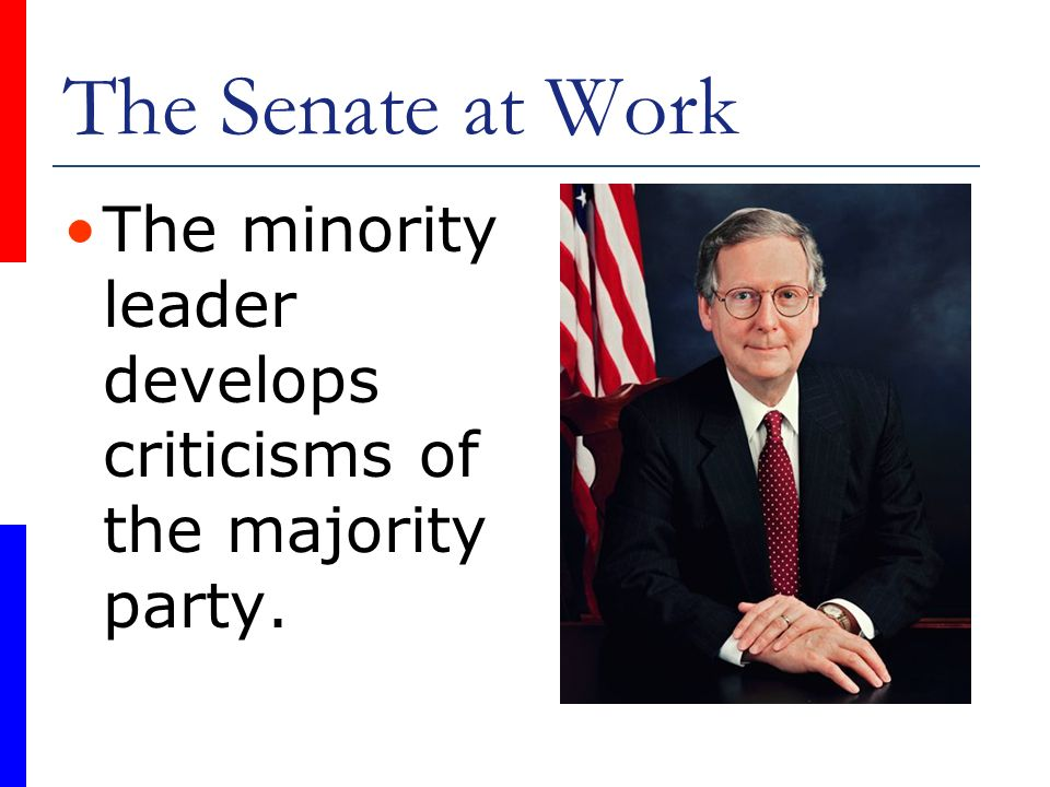 The Senate at Work The minority leader develops criticisms of the majority party.