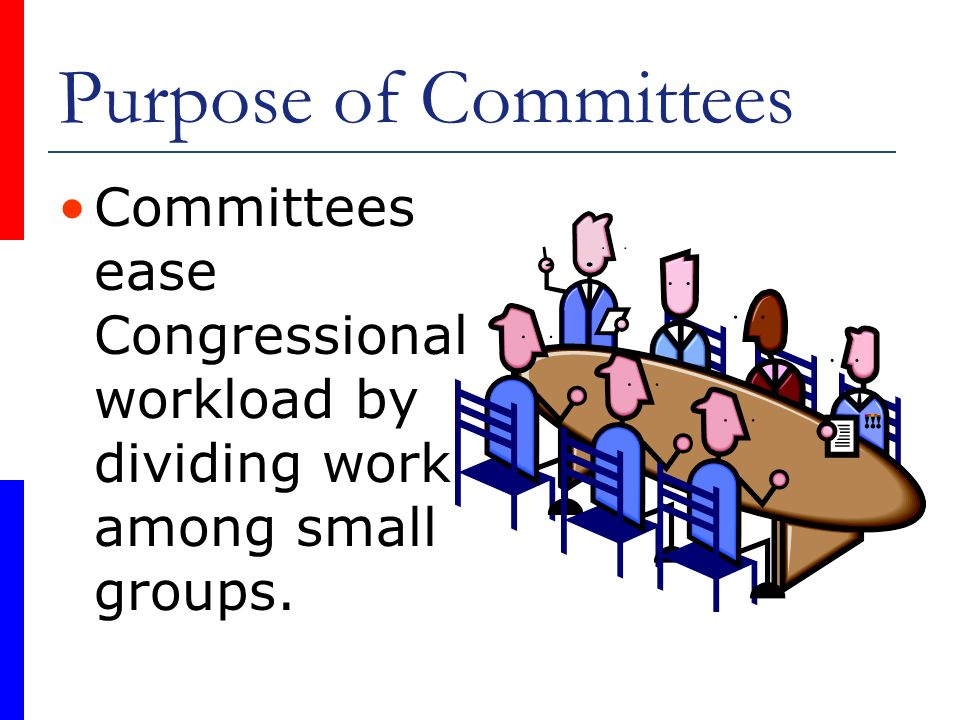 Purpose of Committees Committees ease Congressional workload by dividing work among small groups.