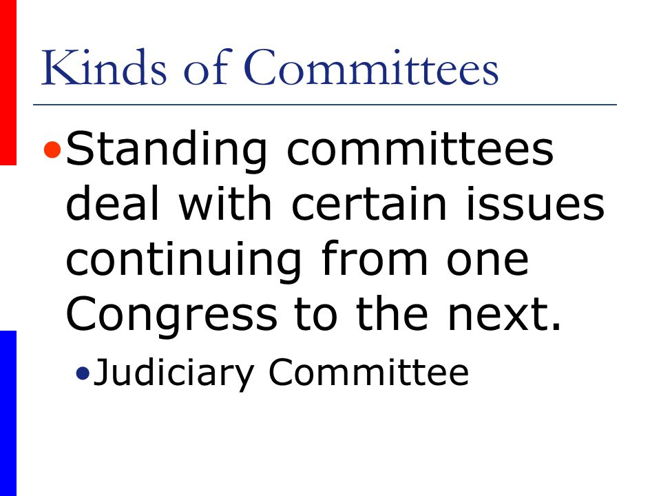 Kinds of Committees Standing committees deal with certain issues continuing from one Congress to the next.