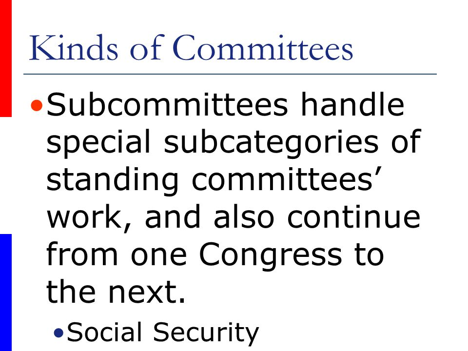 Kinds of Committees Subcommittees handle special subcategories of standing committees' work, and also continue from one Congress to the next.