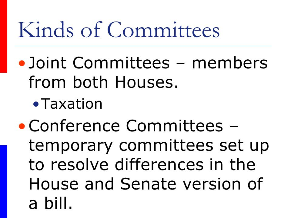 Kinds of Committees Joint Committees – members from both Houses.