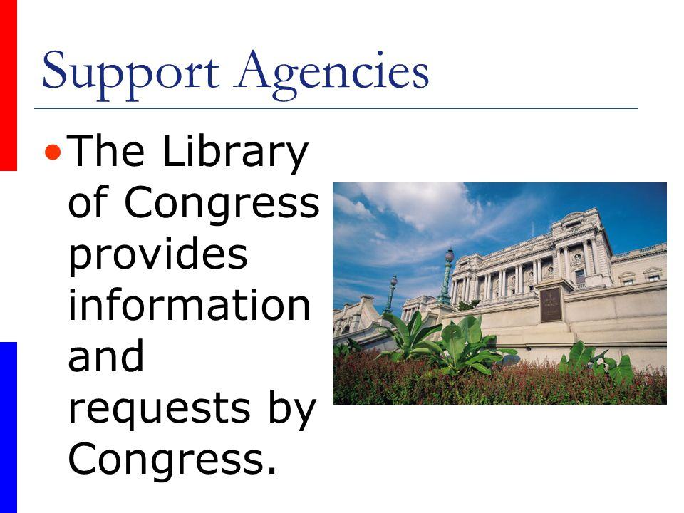 Support Agencies The Library of Congress provides informationand requests by Congress.