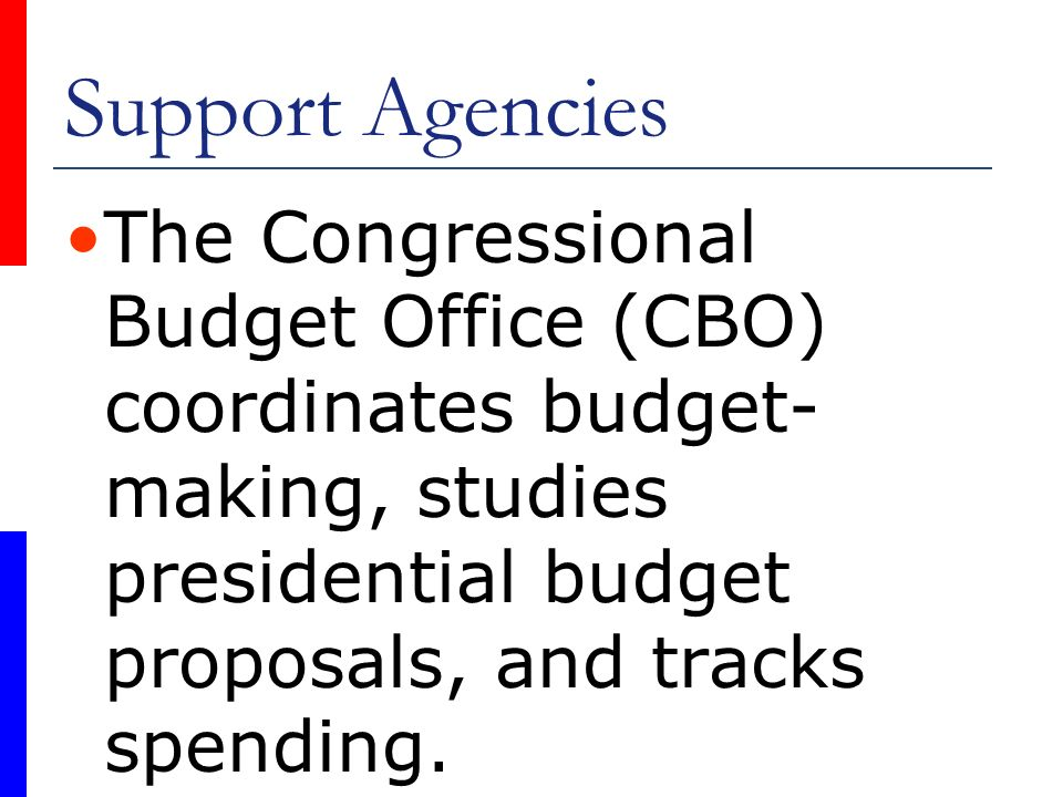 Support Agencies The Congressional Budget Office (CBO) coordinates budget-making, studies presidential budget proposals, and tracks spending.