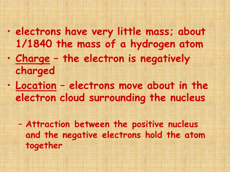 Charge – the electron is negatively charged