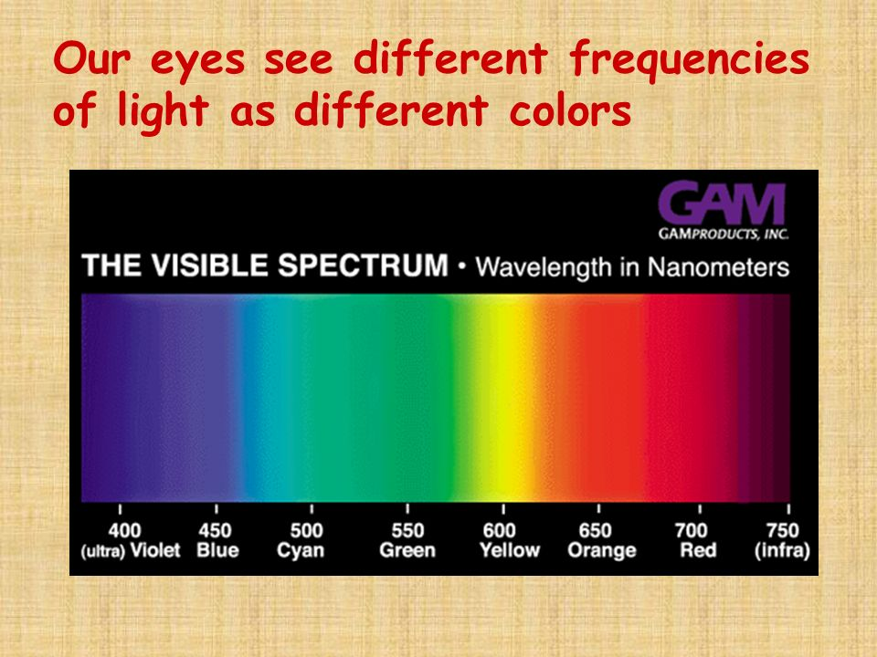 Our eyes see different frequencies of light as different colors