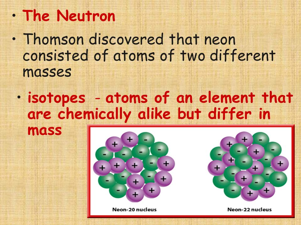 The Neutron Thomson discovered that neon consisted of atoms of two different masses.